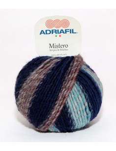 Yarn Mistero Stripes blue-brown-red 92