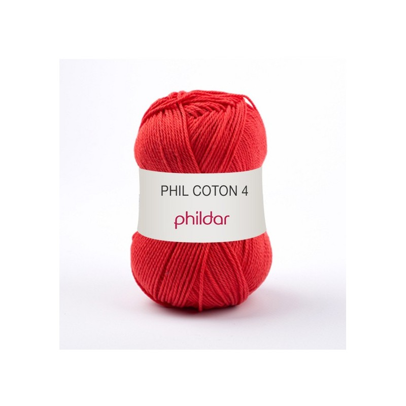 Crochet yarn Phil Coton 4 rouge