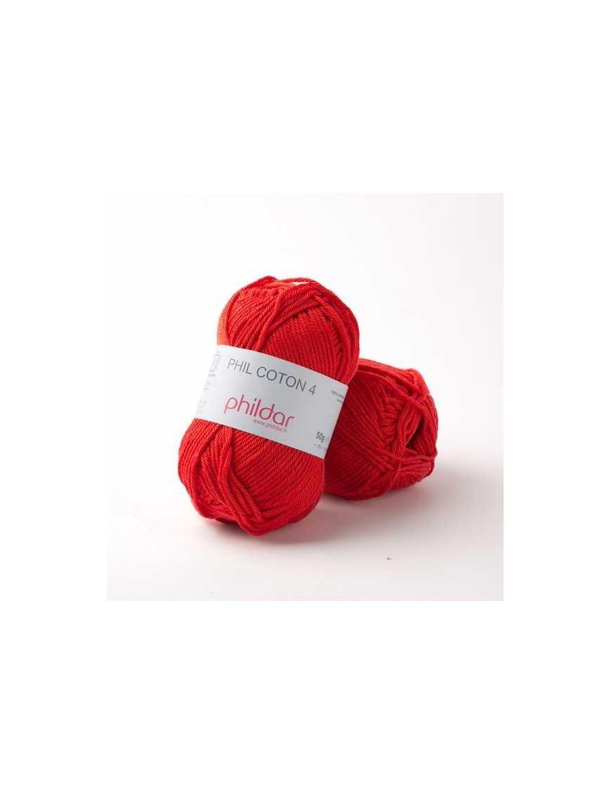 Crochet yarn Phil Coton 4 cerise