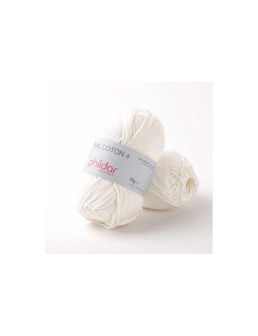 Crochet yarn Phil Coton 4 craie