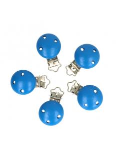 attache sucette en bois bleuet bleu