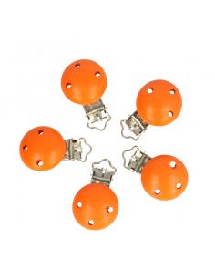 attache sucette en bois orange